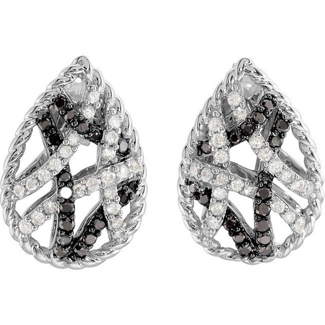 latest-sale-destino-jewellery-pear-shaped-black-and-white-diamond-earrings-front-view