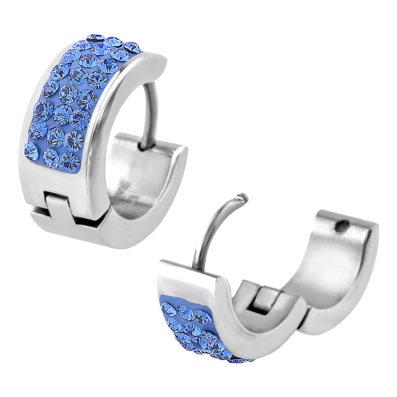 Fire Steel Hypoallergenic Earrings Huggies Baby Blue Crystals